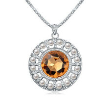 18K White Gold Plated Made with Swarovski Element Brown Round Pearl Necklace