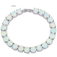 White Fire Opal Gemstone Lovely 925 Silver Tennis Bracelet Bangle