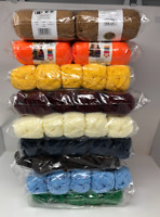 New LION brand Acrylic 4 ply Yarn #4 Medium Lot Of 10 Small Skeins 650 Yards