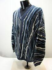 Tundra Men's L V-neck Sweater 100% Cotton Biggie Blue Black White