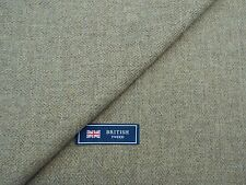100% WOOL TWEED FABRIC, MIXTURE OATMEAL/GREY NARROW HERRINGBONE MADE IN ENGLAND