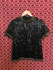 Women's Black and Gold Sequin and Beaded  Top - Size S