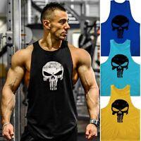 Hommes Débardeur Punisher Skull T-shirt de gym Muscle Été Tee musculation sport