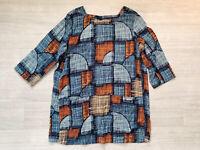 Seasalt Circle 3/4 Sleeve Pocket Top Blouse Blue Mix Size 14 Largenlook Ladies