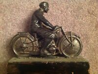 Original Art deco Spelter motorcycle sculpture.Circa 1930. On wooden base