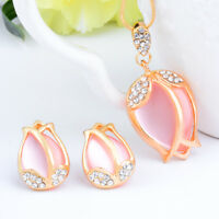 Fashion Women Charm Crystal Pink Rhinestone Stud Earring Necklace Jewelry Set