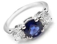 Rare! Authentic Tiffany & Co Platinum Diamond Sapphire Three Stone Band Ring