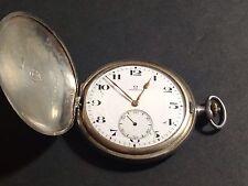 Vintage Omega Pocket Watch 16 Size .900 Silver Omega Case Running Good