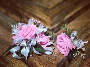 Pink White Glitter Corsage and boutonniere set Prom Wedding Formal Artificial