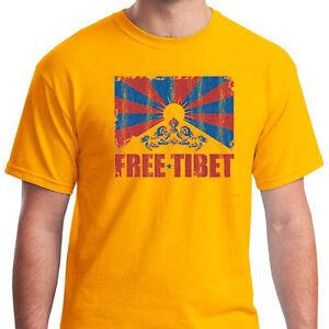 FREE TIBET T-shirt Buddhism flag Dalai Lama china world peace