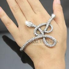 Egyptian Retro Silver Snake Crystal Hand Palm Stretch Bracelet Bangle Cuff