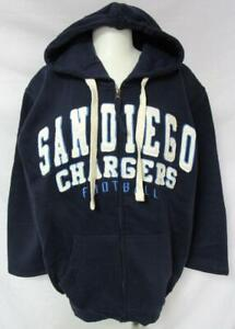 San Diego Chargers Mens M or L Full Zip Embroidered Hooded Sweatshirt YZ 6