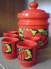Bowlen-Set, rot mit Obst-Motiven, Wächtersbacher Keramik