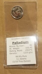 1/10 Ounce Palladium Coin .999 Fine Metallium the Elements UNC bar round .1 Oz
