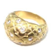 Dyrberg Kern Crystal Ring Gold Tone Ⅲ Size 8