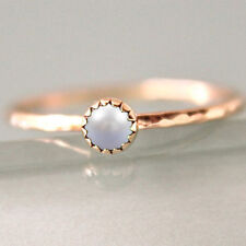 Natural Pearl Gemstone 14k Rose Gold Hammered Band Fine Jewelry Gift Ring Size 6