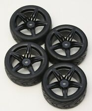 R/C 5 Spoke Black 1/10 Scale Rims and Tires RC Car Pre-Glued !  4 Tec ect.
