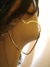 OPEN HEART HOOP EARRINGS GOLD TONE HOOP EARRINGS LIGHTWEIGHT 2 INCH