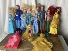 Lot Of 9 Disney Character Barbies Cinderella, Belle, Aerial, Etc