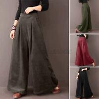 Women Flare Wide Leg Solid Pants Corduroy Culottes High Waist Trousers Plus Size