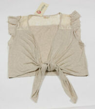 OLSENBOYE NWT WOMENS JUNIORS LARGE TAN LACE  LIGHTWEIGHT SHRUG TIE FRONT NEW