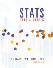 Stats: Data and Models 4th Ed, Unopened CD, No Writing/Highlighting, Like New