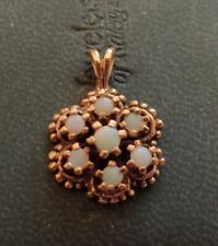 VINTAGE 14k Gold Round Pendant with Opal Stones 2.43 Grams ((141))
