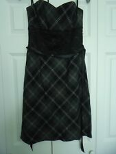 NEW Junior Woman's size large Gray & Black Plaid Strapless Dress from Taboo
