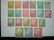 1954-60 WEST GERMANY PRESIDENT HEUSS DEFINITIVES SET x 20 VFU (sg1103/22) CV £33