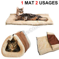 2-In-1 Pet Cat Dog House Sleeping Bed Soft Mat Pad Kennel Puppy Cave Warm Nest