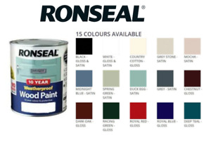 Ronseal 10 Year Weatherproof Wood Paint Gloss/Satin 2 In1 No Primer Needed