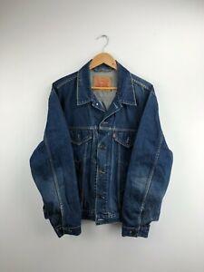 Vintage LEVI'S Dark Blue Casual Classic Fit Denim Jacket Men's Size XL