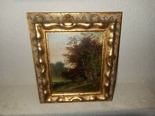 Antique oil painting,{ Landscape with a woman walking, signed J. Roosenboom }.