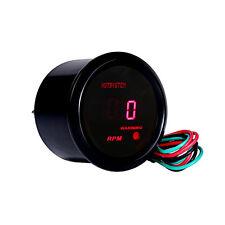2 1/16 Inch 52mm BLACK CAR MOTOR DIGITAL RED LED TACHOMETER TACHO GAUGE METER US