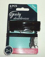 GOODY Doublewear 4 Pcs. Pontytailers  Elastics + Cuff Bracelet BLACK