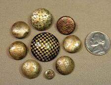 Vintage Lot 9 Brass & Silver Tone Wallpaper Metal Buttons Sweater Jacket