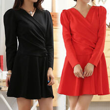 Patternless Long Sleeve Wrap Dresses
