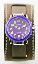Fossil Kahuna Watch Mens Stainless Steel Silver Leather Brown 50m Purple Quartz