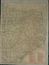 1922 LARGE AMERICA MAP ~ TEXAS EASTERN SECTION RAILROADS STEAMSHIP RAND MCNALLY