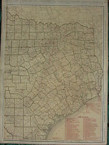 1922 LARGE AMERICA MAP ~ TEXAS EASTERN SECTION RAILROADS STEAMSHIP RAND MCNALLY