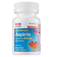 CVS Health Low Dose Aspirin 81 mg Pain Reliever Enteric Coated 365 Tablets