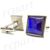 New Men's Cufflinks cuff links square royal blue rhodium plated formal wedding