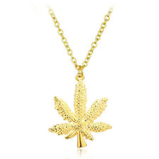 18k  Gold Plated Hip Hop Necklace Iced Out Weed Leaf Maple Pendant Cuba Chain