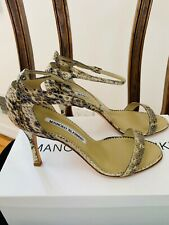 New Manolo Blahnik Size 36 Snake Skin Python Strappy Heels w/box & covers