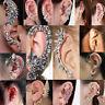 Fashion Women's Crystal Clip Ear Cuff Stud  Punk Wrap Cartilage Earring Jewelry