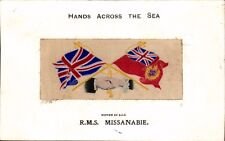 Woven Silk. RMS Missanabie by Stevens. Canadian Pacific. Hands Across the Sea.