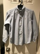 Boy's Polo Ralph Lauren Oxford Button Down Shirt Light Blue Sz12  Pre-Owned Euc