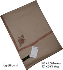 100% Pure Wool Hand Embroidered Kashmir Shawl Wrap Scarf Kingri Light Brown-1