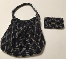 VINTAGE 50s-60s Navy/Clear Lucite BEADED PURSE With Hinge Opening And Coin Purse