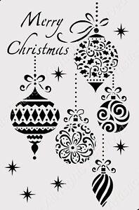 Christmas Tree Bauble Decoration Cards A5 A4 A3  Mylar Reusable Stencil  / Snow4